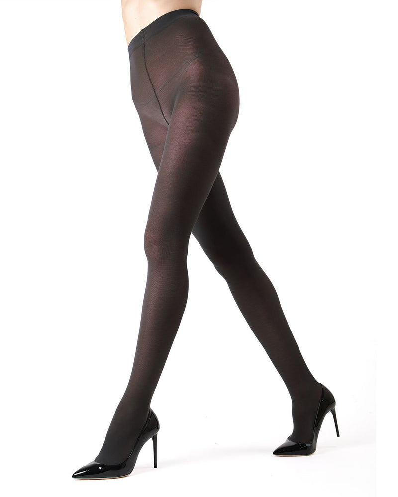 Memoi Black Pima Cotton Tights | Women's Hosiery - Pantyhose - Nylons