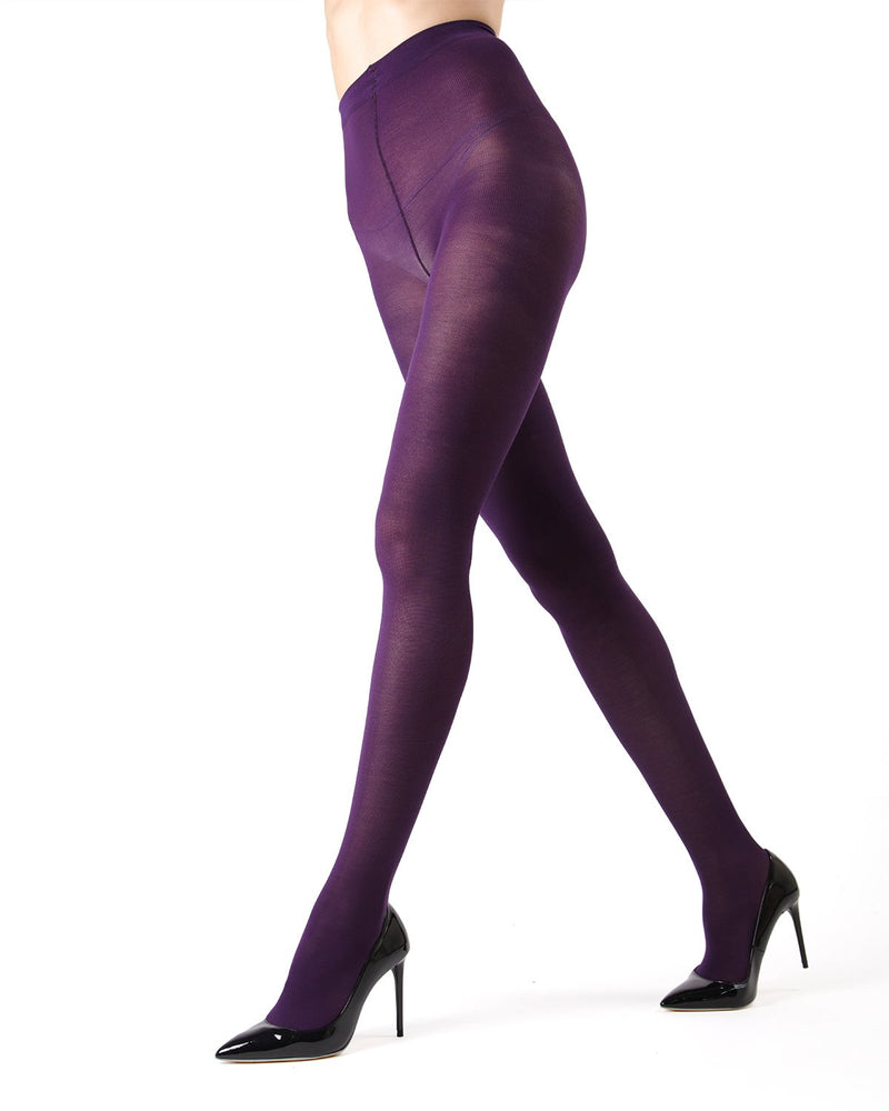 Memoi Blackberry Cordial Pima Cotton Tights | Women's Hosiery - Pantyhose - Nylons