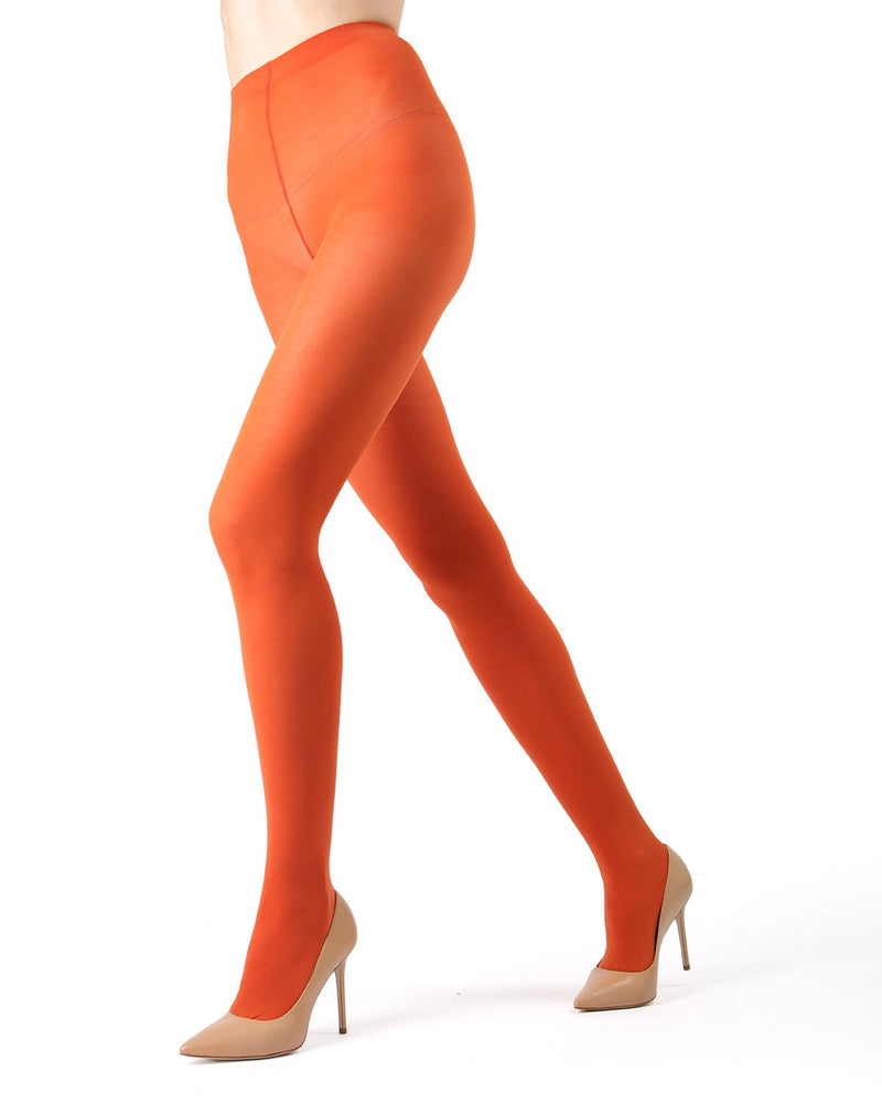 Memoi Burnt Ochre Pima Cotton Tights | Women's Hosiery - Pantyhose - Nylons