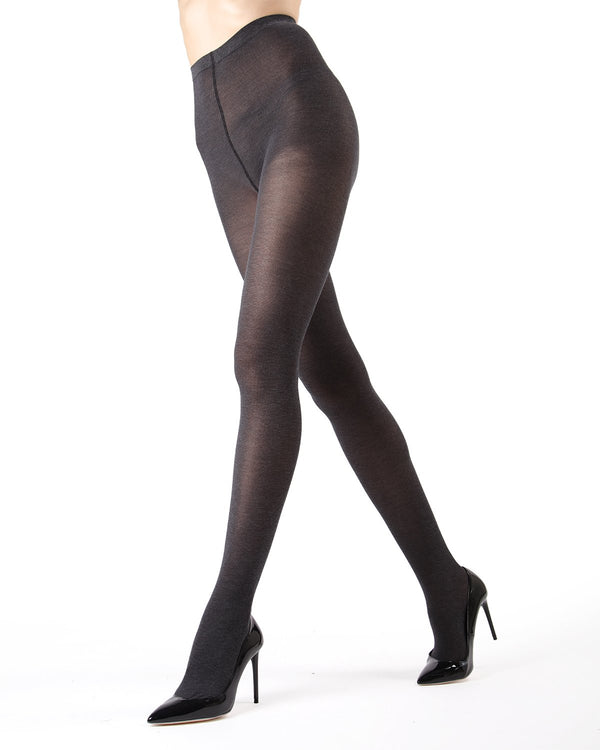 Memoi Charcoal Pima Cotton Tights | Women's Hosiery - Pantyhose - Nylons