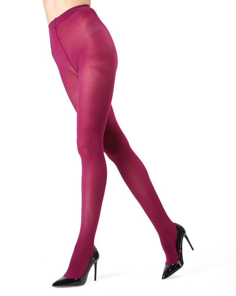 Memoi Magenta Purple Pima Cotton Tights | Women's Hosiery - Pantyhose - Nylons