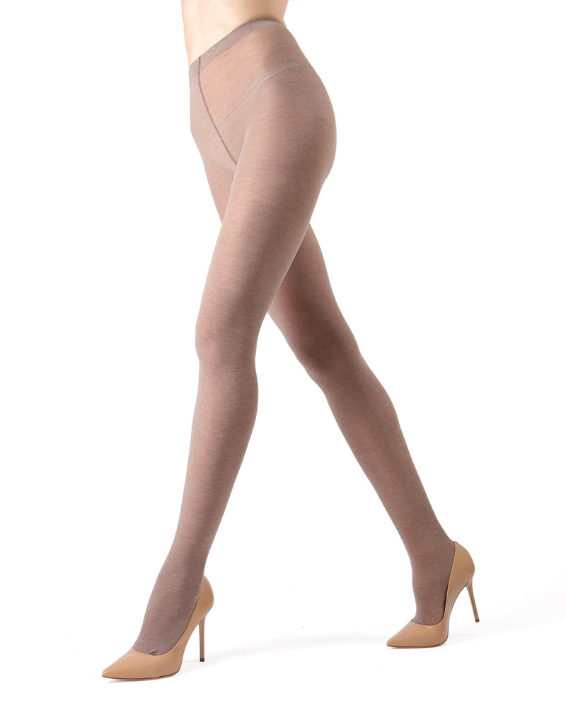 Memoi Tan Pima Cotton Tights | Women's Hosiery - Pantyhose - Nylons