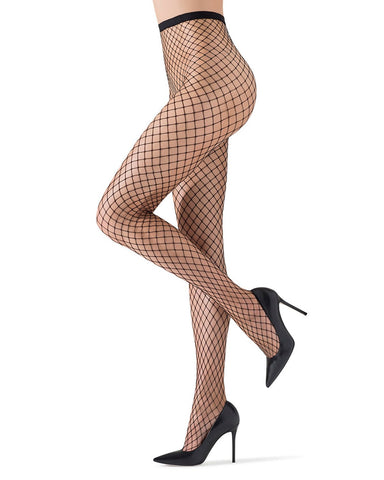 MeMoi | Black Hot Maxi Fishnet Tights | Women's Premium Fishnet Stockings - Pantyhose - Hosiery - Nylons