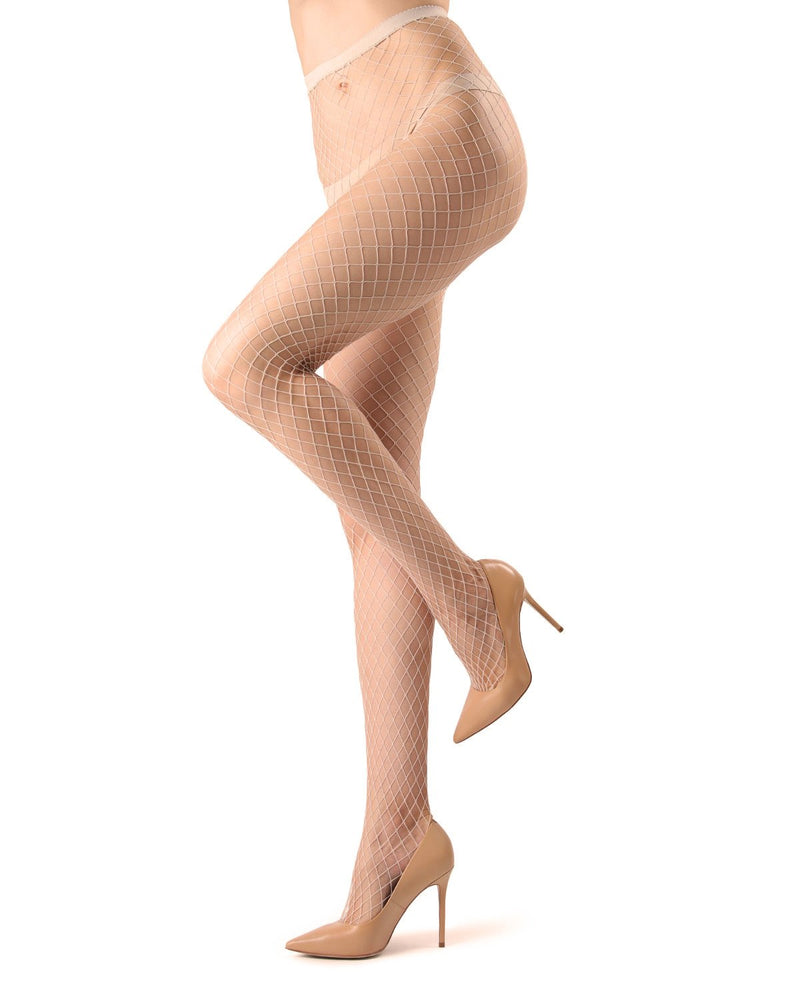 MeMoi | Nude Hot Maxi Fishnet Tights | Women's Premium Pantyhose - Hosiery - Nylons