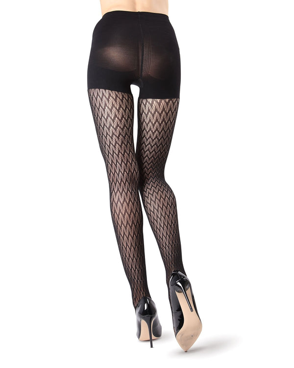 MeMoi FirmFit Chevron Net Tights | Women's Best Control Top Shaping Tights | Hosiery - Pantyhose - Nylons (rear view) | Black MO-376