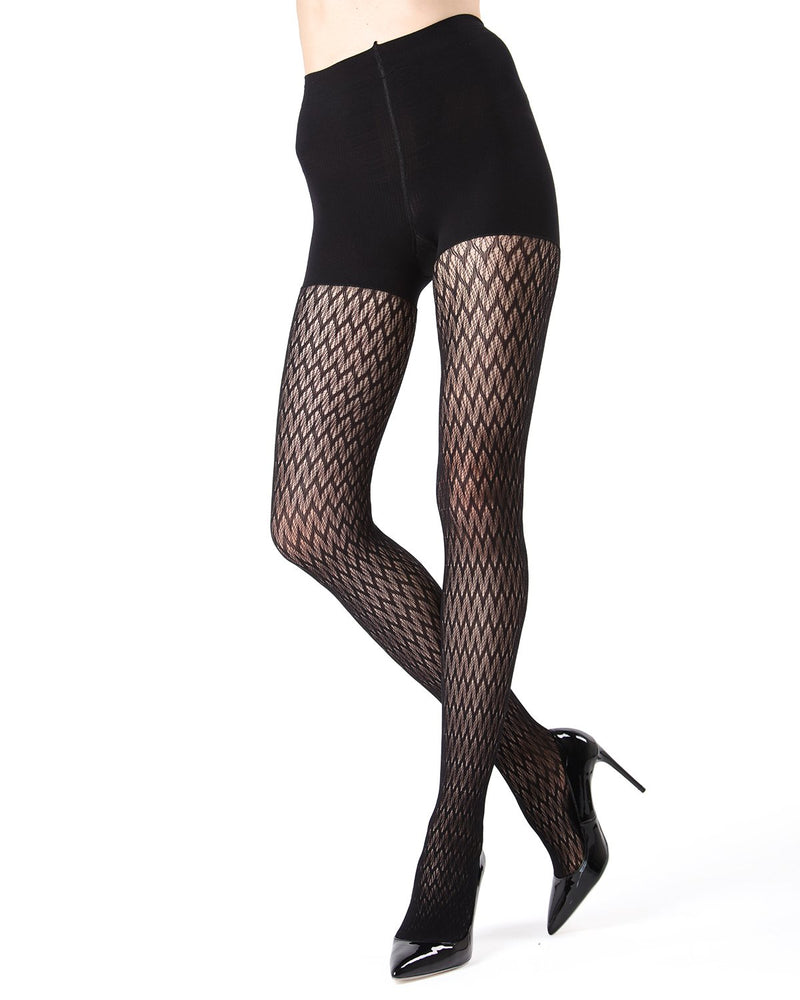 MeMoi FirmFit Chevron Net Tights | Women's Best Control Top Shaping Tights | Hosiery - Pantyhose - Nylons (front view) | Black MO-376