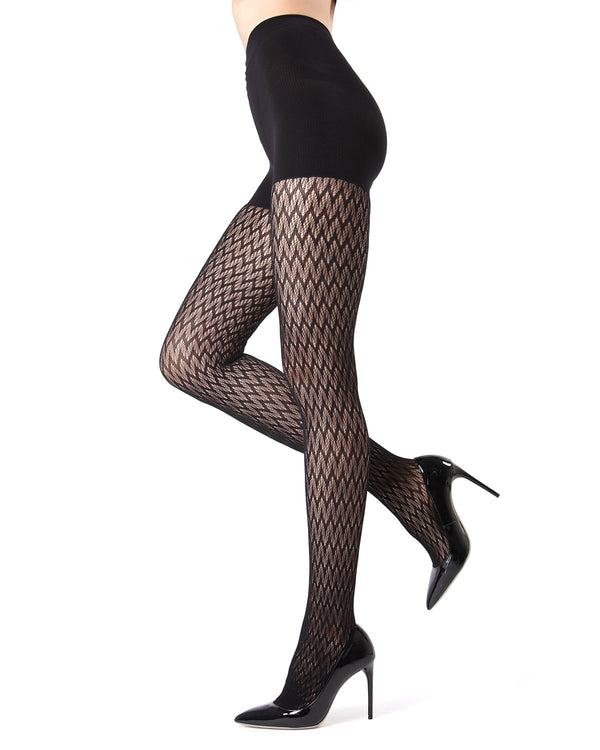 MeMoi FirmFit Chevron Net Tights | Women's Best Control Top Shaping Tights | Hosiery - Pantyhose - Nylons (side view) | Black MO-376