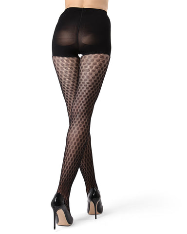 MeMoi FirmFit Dotted Net Tights | Women's Best Control Top Shaping Tights (side) | Hosiery - Pantyhose - Nylons  | Black MO-377
