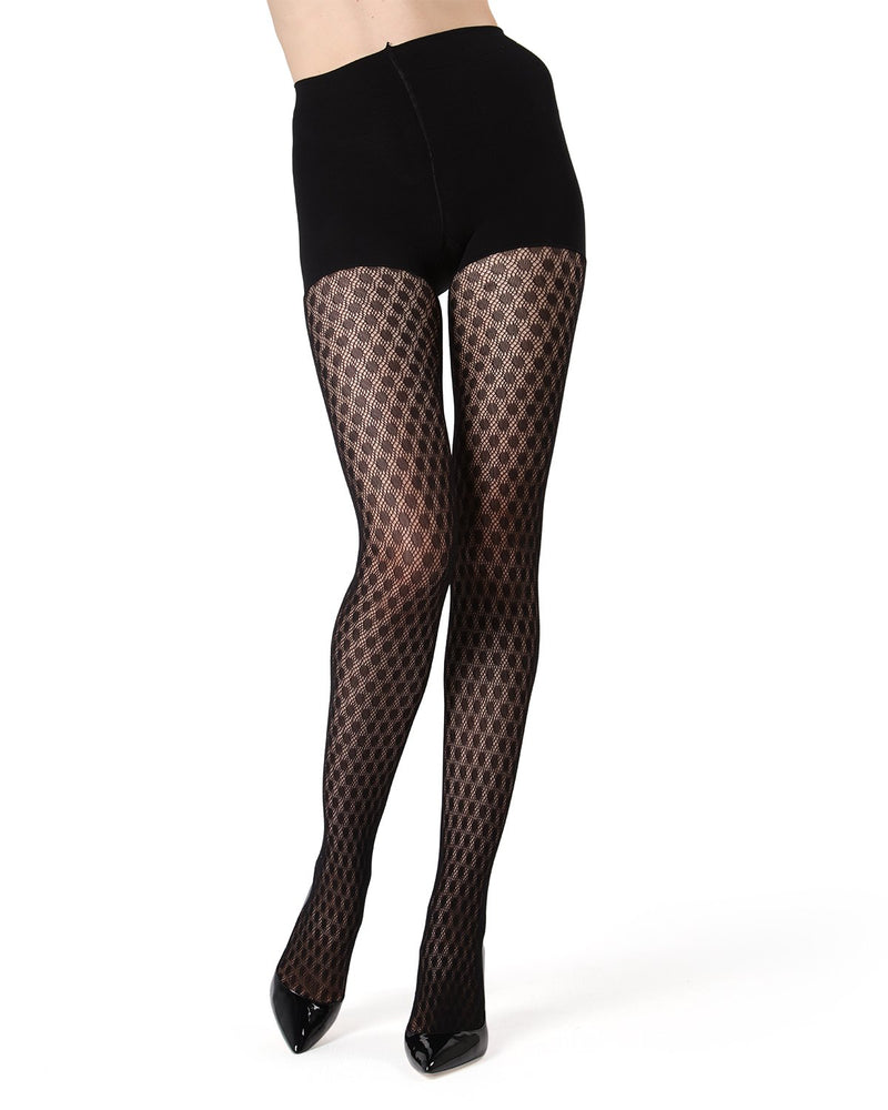 MeMoi FirmFit Dotted Net Tights | Women's Best Control Top Shaping Tights (Front) | Hosiery - Pantyhose - Nylons  | Black MO-377