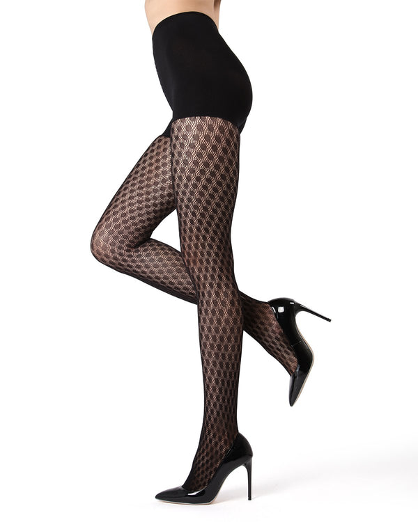MeMoi | Black FirmFit Dotted Net Tights (side view) | Women's Tights
