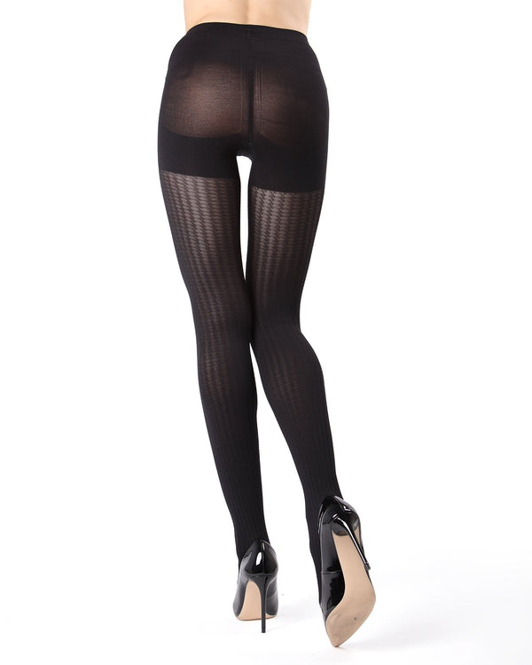 MeMoi FirmFit Mini Cable Control Top Tights | Women's Best Control Top Shaping Tights | Hosiery - Pantyhose - Nylons (rear view) | Black MO-378