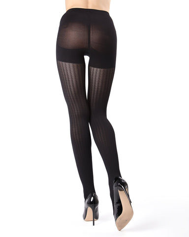 MeMoi FirmFit Mini Cable Control Top Tights | Women's Best Control Top Shaping Tights | Hosiery - Pantyhose - Nylons (side view) | Black MO-378