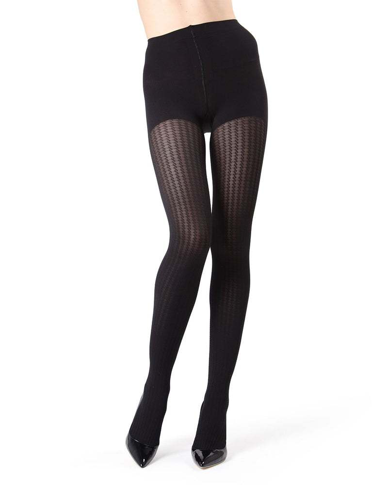 MeMoi Black FirmFit Mini Cable Control Top Tights (front view) | Women's Tights - Hosiery - Pantyhose