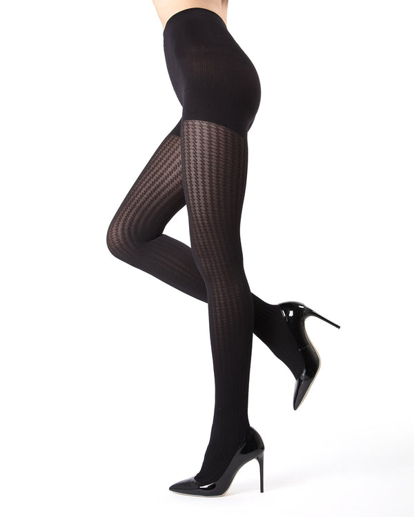 MeMoi Black FirmFit Mini Cable Control Top Tights (side view) | Women's Tights - Hosiery - Pantyhose