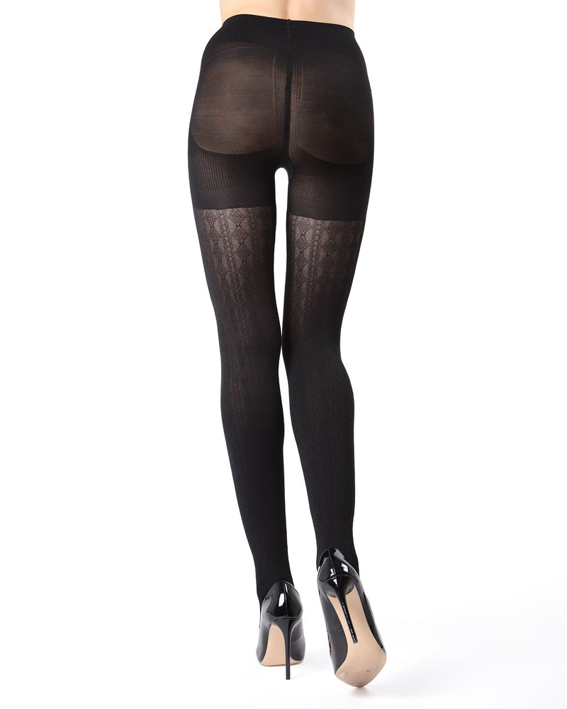 MeMoi Black FirmFit Diamonds Link Control Top Tights (rear view) | Women's Tights - Hosiery - Pantyhose