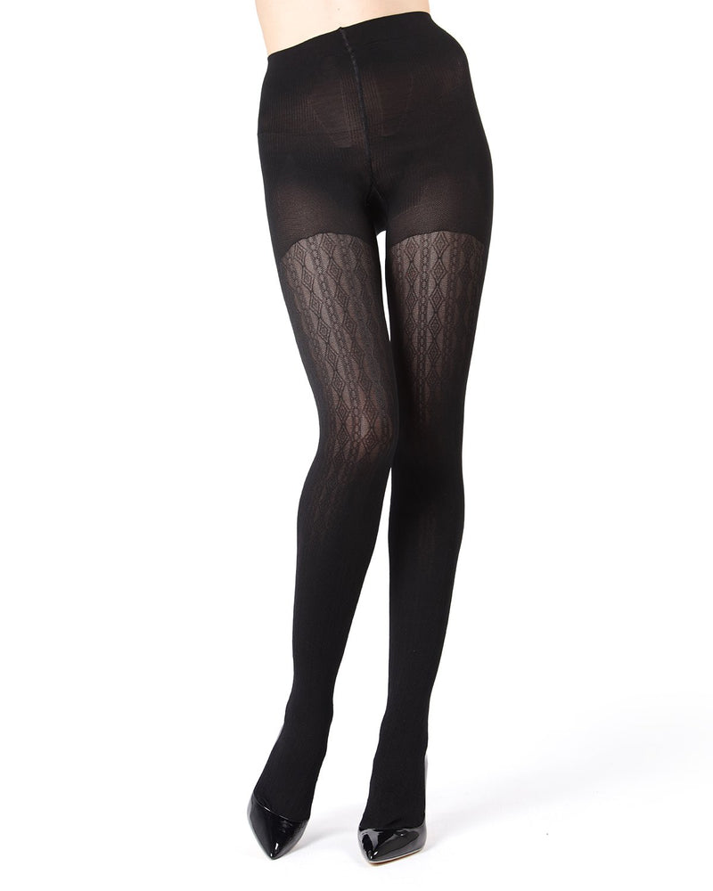MeMoi FirmFit Diamonds Link Control Top Tights | Women's Best Control Top Shaping Tights | Hosiery - Pantyhose - Nylons (front view) | Black MO-380
