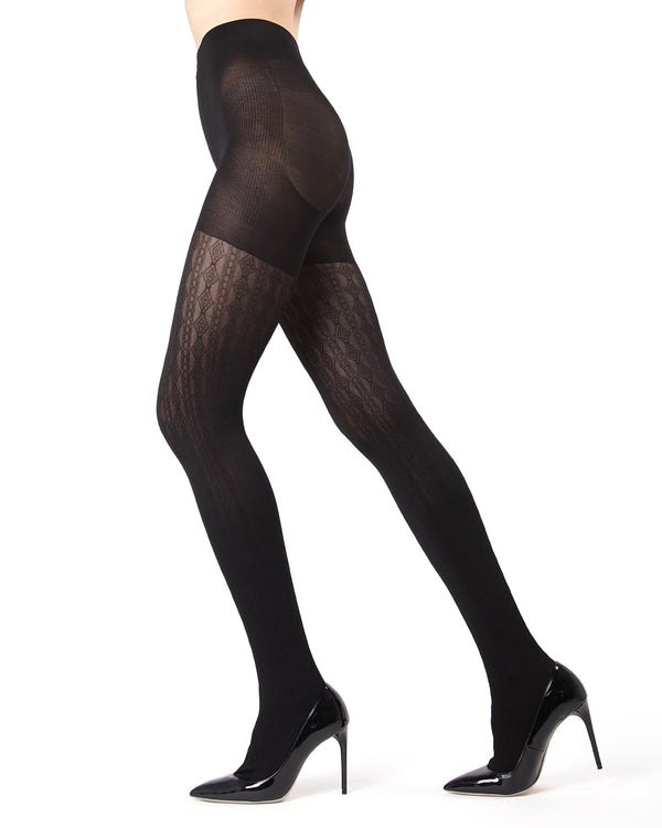 MeMoi Black FirmFit Diamonds Link Control Top Tights (side view) | Women's Tights - Hosiery - Pantyhose