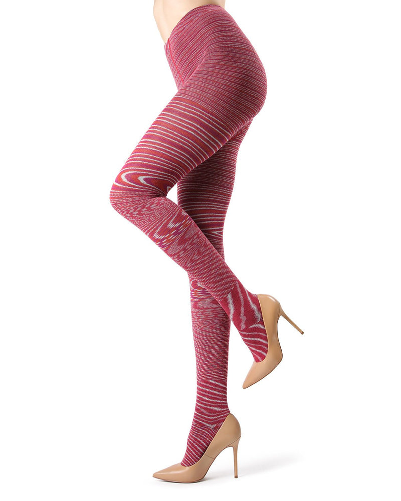 Memoi Red Plum Wild Side Cotton Sweater Tights | Women's Hosiery - Pantyhose - Nylons