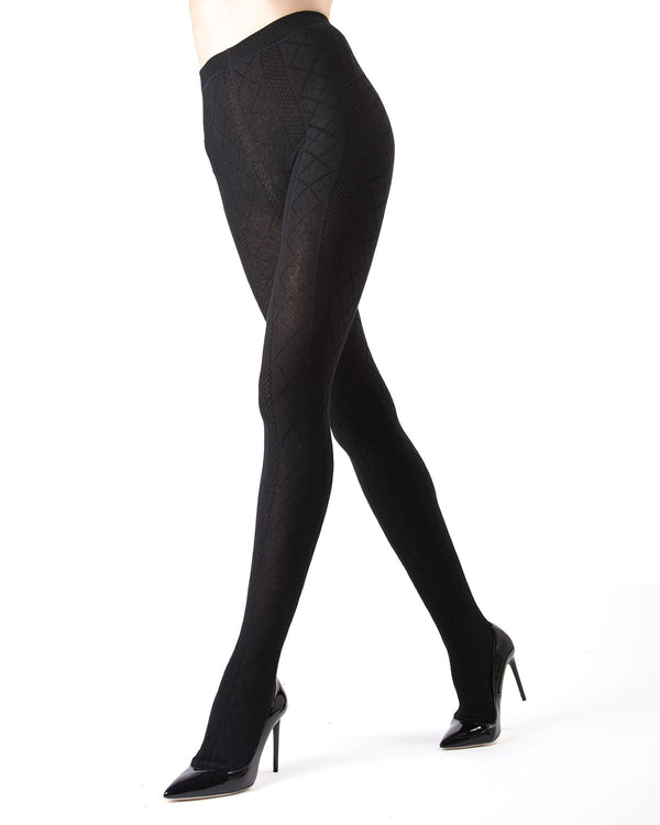 Memoi Black Juneau Diamonds Sweater Tights | Women's Hosiery - Pantyhose - Nylons