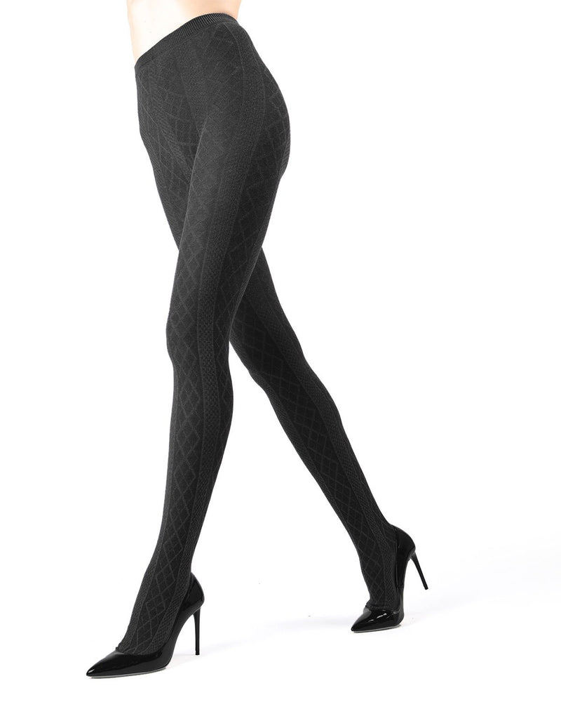 Memoi Dark Grey Heather Juneau Diamonds Sweater Tights | Women's Hosiery - Pantyhose - Nylons