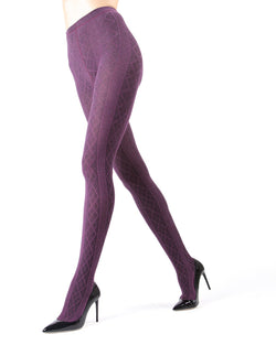 Memoi Grape Heather Juneau Diamonds Sweater Tights | Women's Hosiery - Pantyhose - Nylons