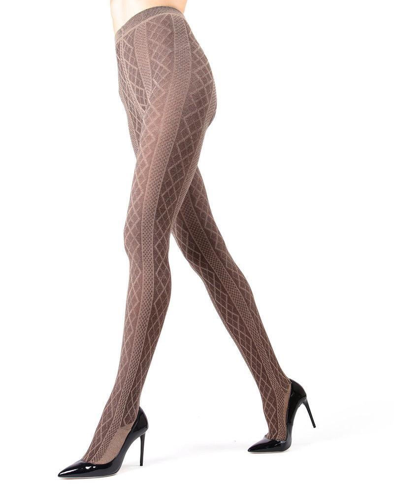 Memoi Lt Taupe Heather Juneau Diamonds Sweater Tights | Women's Hosiery - Pantyhose - Nylons