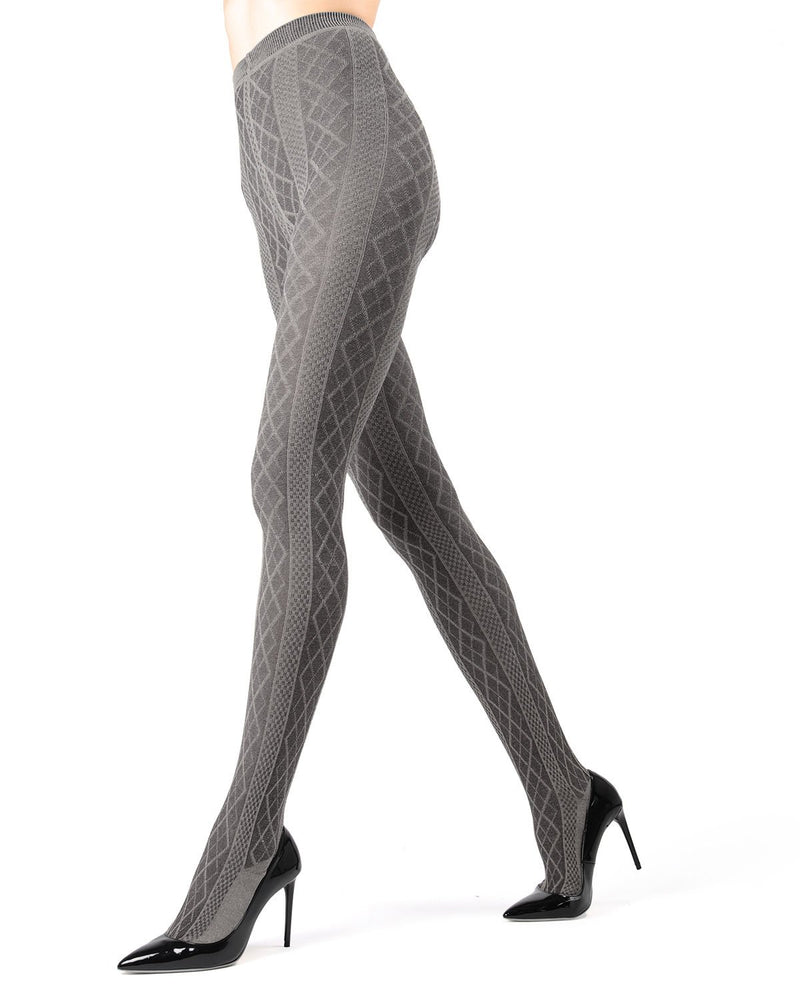 Memoi Med Gray Heather Juneau Diamonds Sweater Tights | Women's Hosiery - Pantyhose - Nylons