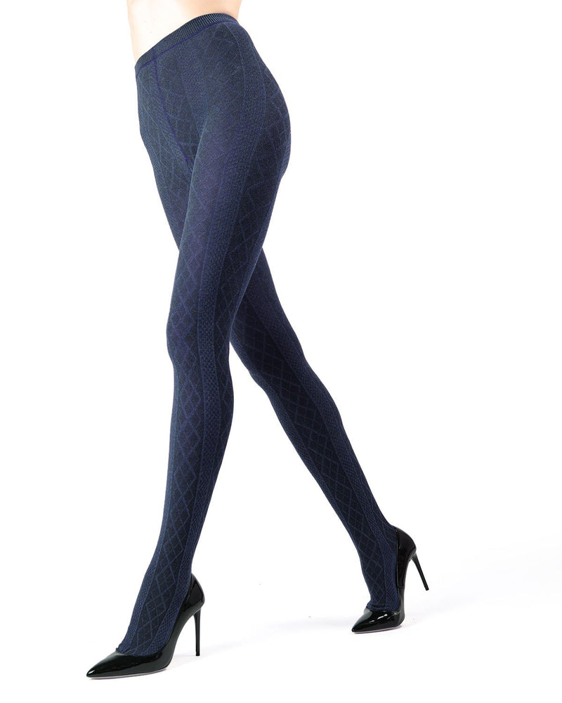 Memoi Peacoat Juneau Diamonds Sweater Tights | Women's Hosiery - Pantyhose - Nylons