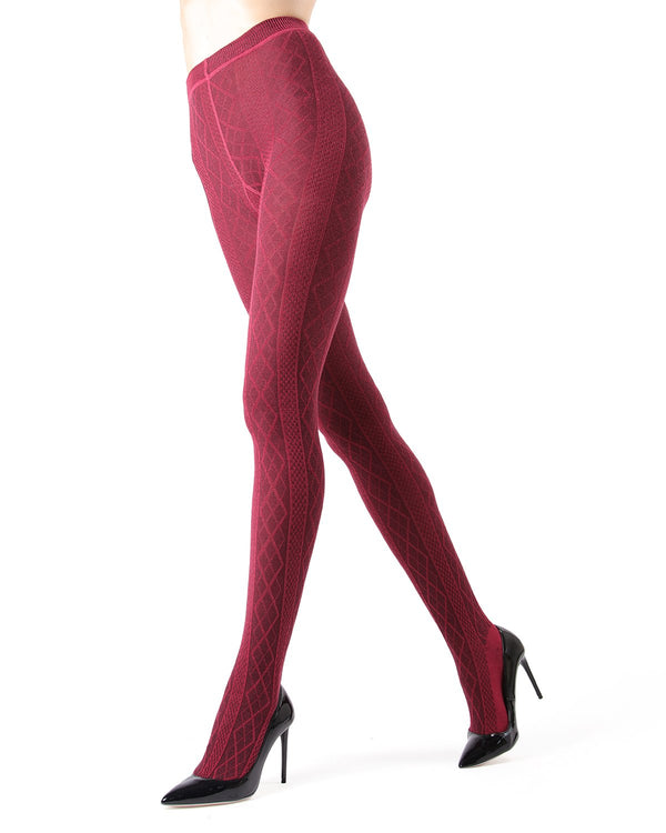 Memoi Rhubarb Juneau Diamonds Sweater Tights | Women's Hosiery - Pantyhose - Nylons