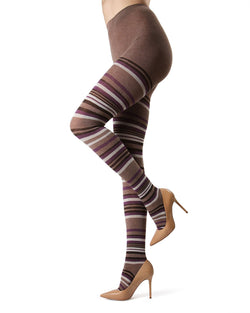 MeMoi Taupe Heather Lulea Striped Sweater Tights | Women's Hosiery - Pantyhose - Nylons