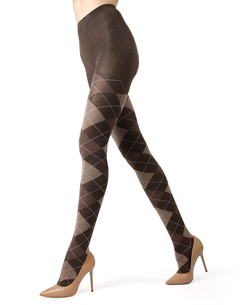 Memoi Brown Heather Campbell Argyle Sweater Tights | Women's Hosiery - Pantyhose - Nylons