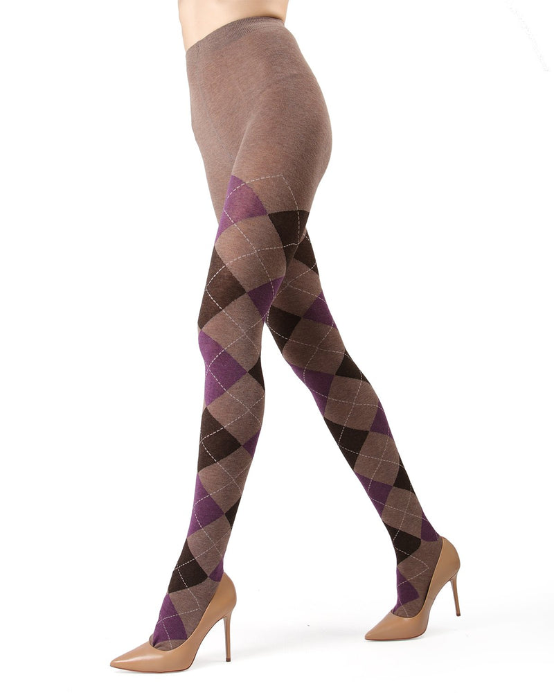 Memoi Taupe Heather Campbell Argyle Sweater Tights | Women's Hosiery - Pantyhose - Nylons