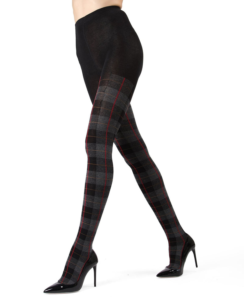 Memoi Black Glasgow Plaid Sweater Tights | Women's Hosiery - Pantyhose - Nylons