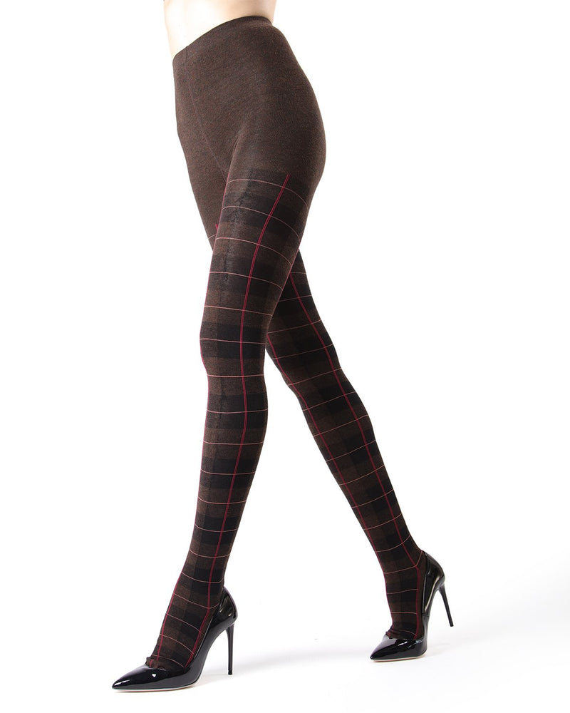 Memoi Brown Heather Glasgow Plaid Sweater Tights | Women's Hosiery - Pantyhose - Nylons