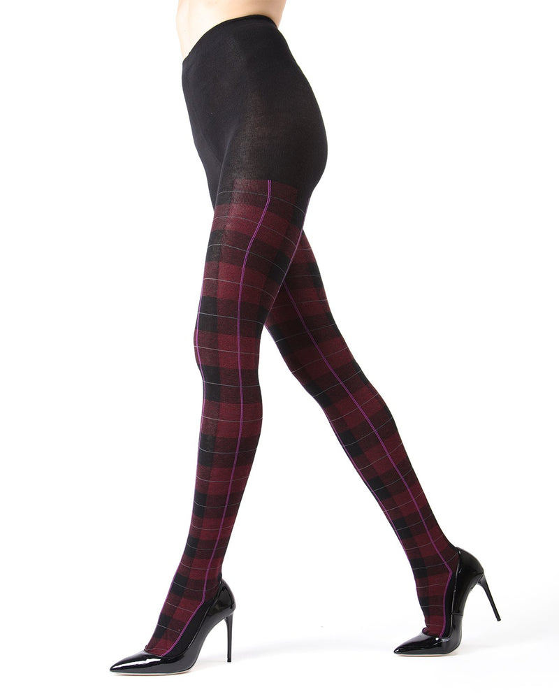 Memoi Burgundy Heather Glasgow Plaid Sweater Tights | Women's Hosiery - Pantyhose - Nylons