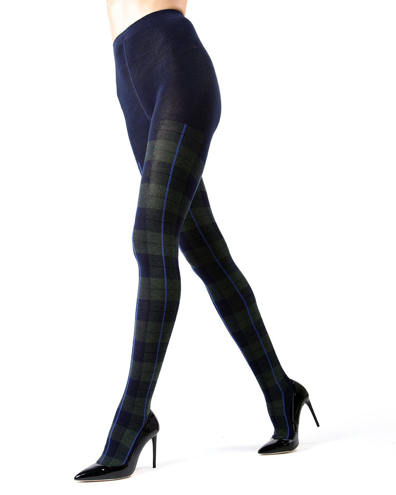 Memoi Navy Blazer Glasgow Plaid Sweater Tights | Women's Hosiery - Pantyhose - Nylons