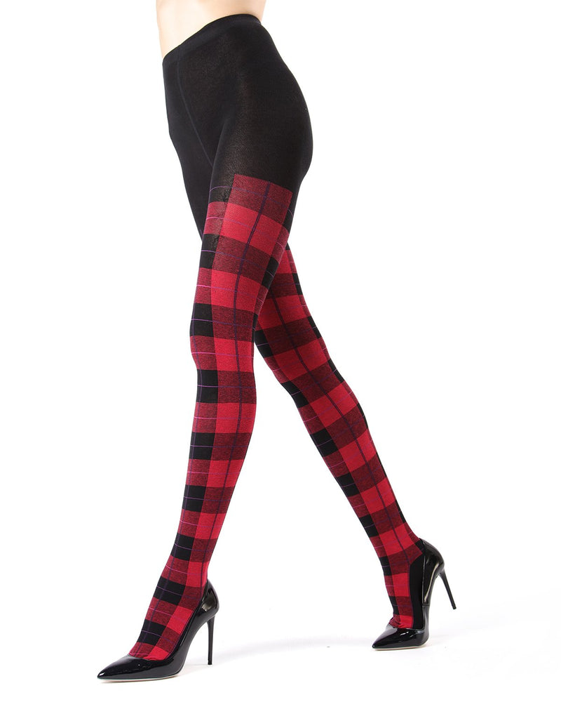 Memoi Red Glasgow Plaid Sweater Tights | Women's Hosiery - Pantyhose - Nylons
