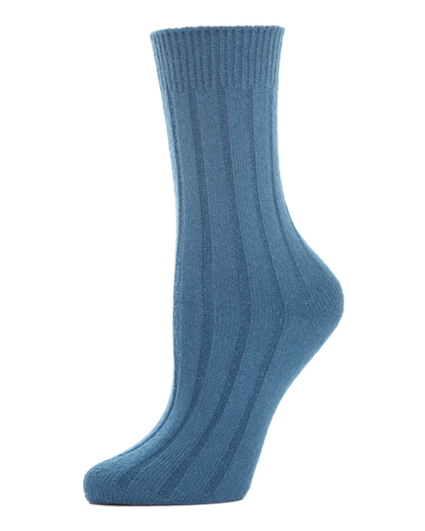 MeMoi Ribbed Lush Boot Socks | Women's Crew Fashion Socks -MO-602 Legion Blue-