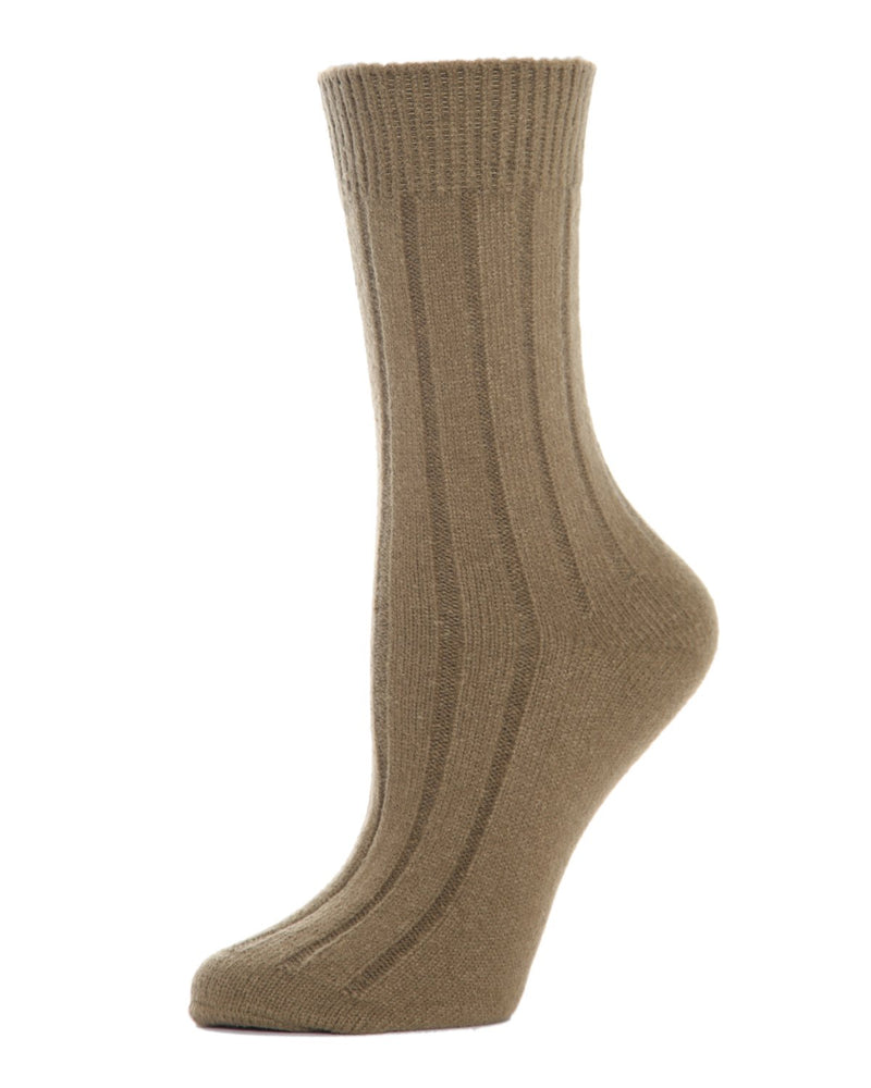 MeMoi Ribbed Lush Boot Socks | Women's Crew Fashion Socks -MO-602 Military Olive-