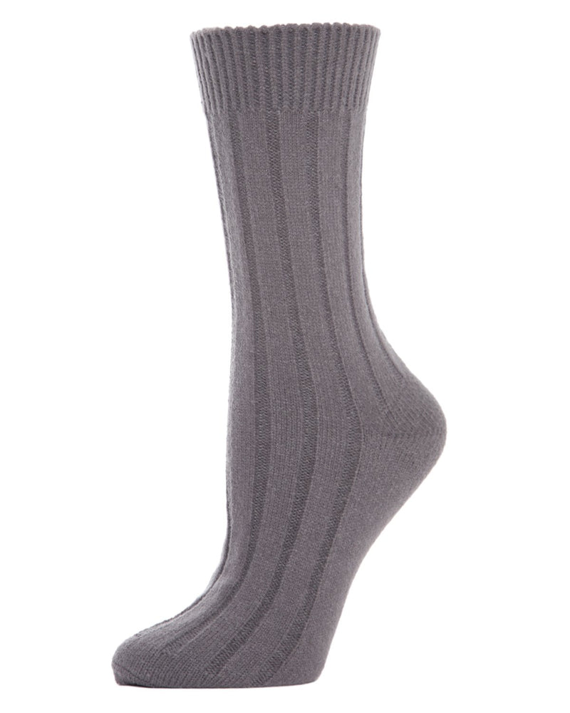 MeMoi Ribbed Lush Boot Socks | Women's Crew Fashion Socks -MO-602 Pavement-