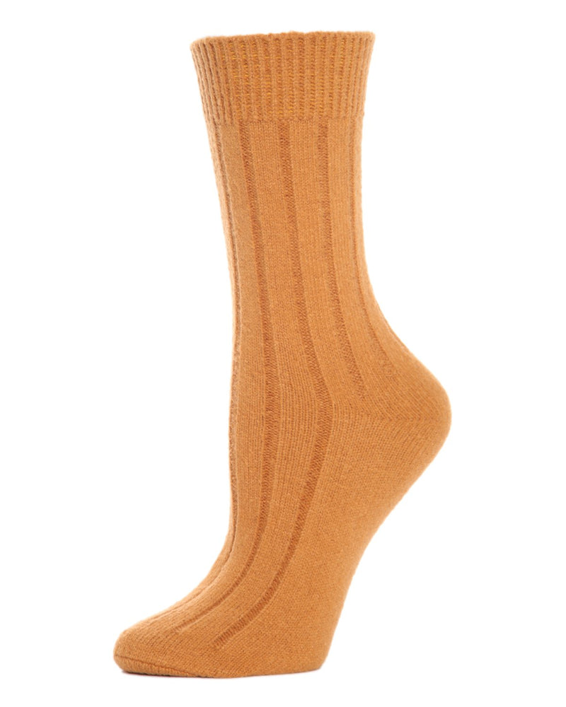 MeMoi Ribbed Lush Boot Socks | Women's Crew Fashion Socks -MO-602 Sudan Brown-