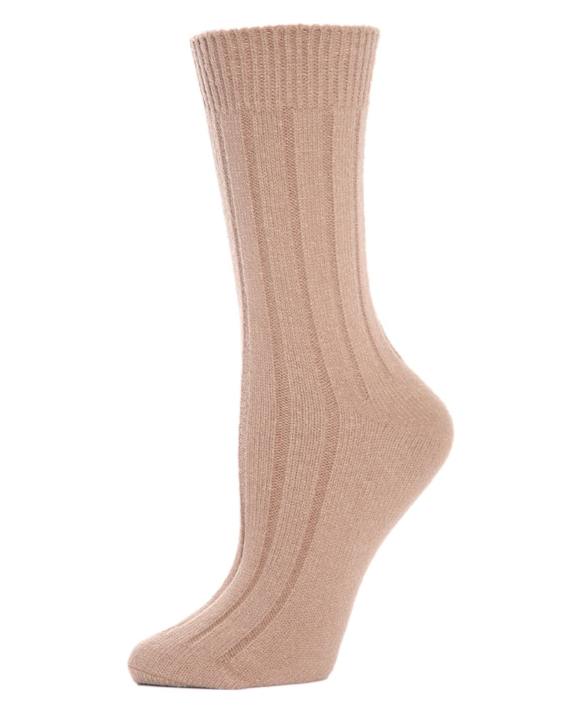 MeMoi Ribbed Lush Boot Socks | Women's Crew Fashion Socks -MO-602 Tannin-