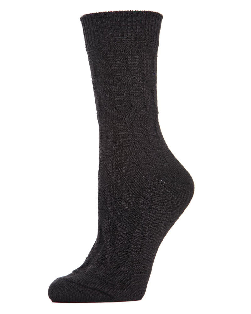 MeMoi Twist Class Boot Sock | Women's Fashion Boot Crew Socks -MO-603 Black-