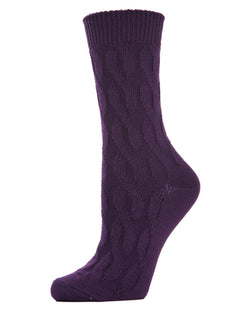 MeMoi Twist Class Boot Sock | Women's Fashion Boot Crew Socks -MO-603 Blackberry Cordial-
