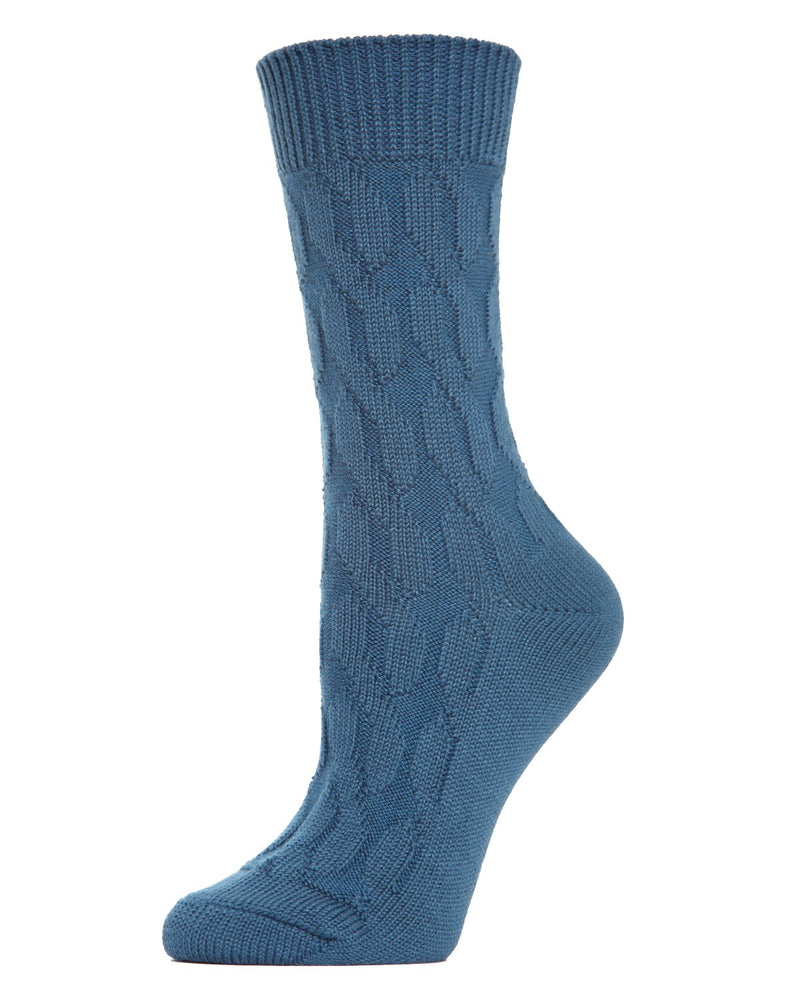 MeMoi Twist Class Boot Sock | Women's Fashion Boot Crew Socks -MO-603 Legion Blue-