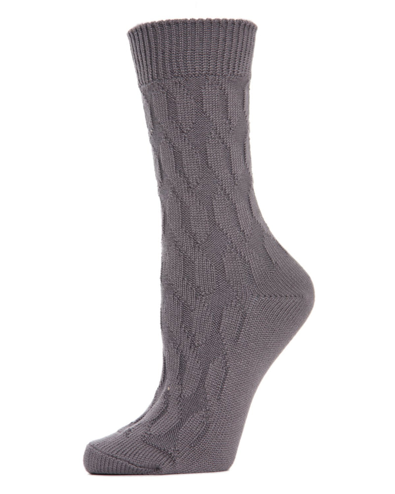 MeMoi Twist Class Boot Sock | Women's Fashion Boot Crew Socks -MO-603 Pavement-