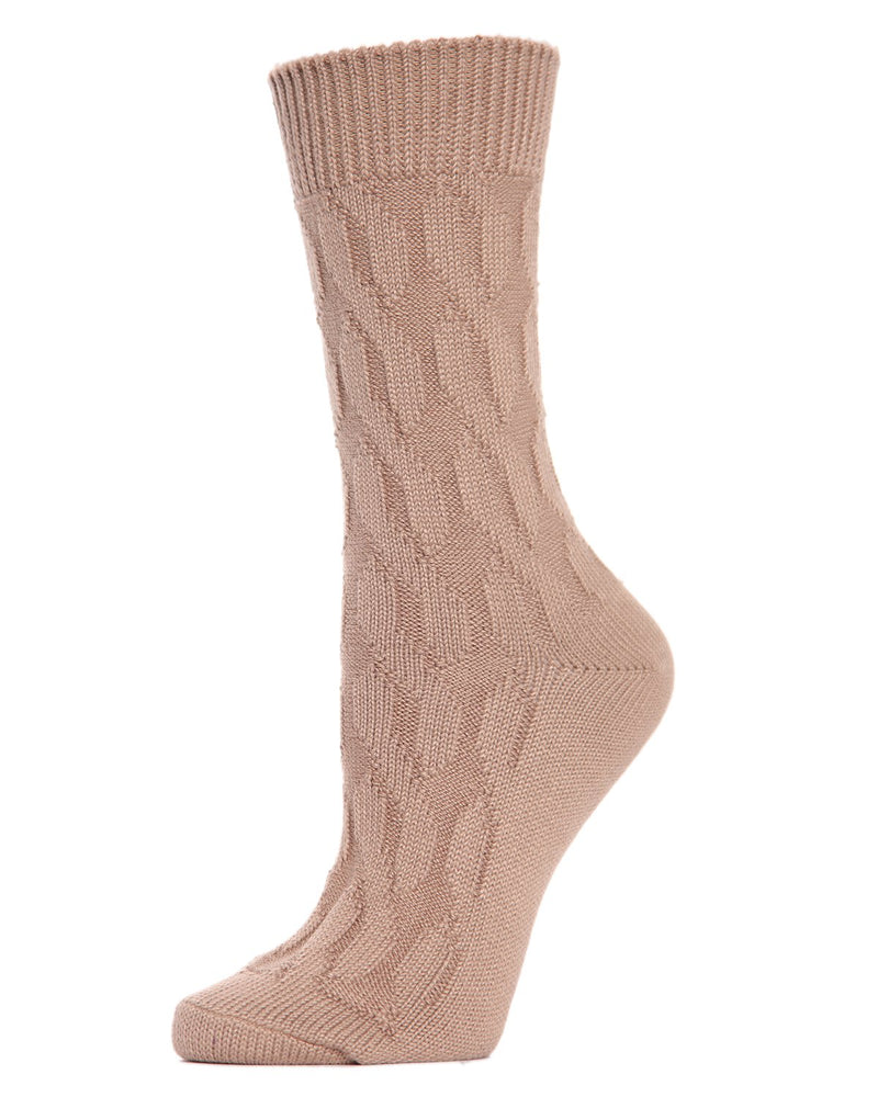 MeMoi Twist Class Boot Sock | Women's Fashion Boot Crew Socks -MO-603 Tannin-