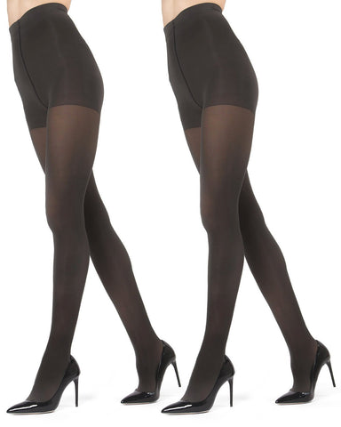Perfectly Opaque Control Top Microfiber 2-Pair Pack Tights