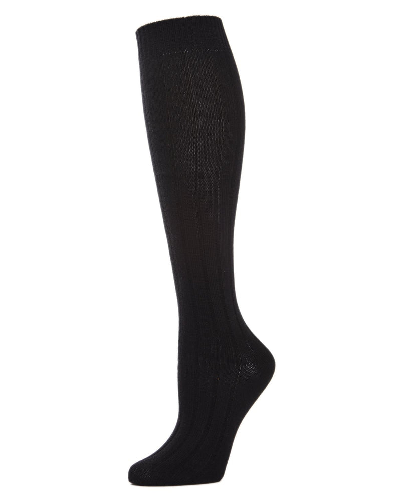 MeMoi Ribbed Knee High Socks | Women's Knee High Fall / Winter Socks -MO-716 Black-