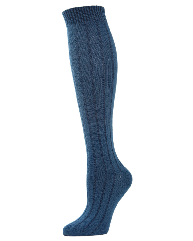 MeMoi Ribbed Knee High Socks | Women's Knee High Fall / Winter Socks -MO-716 Legion Blue-